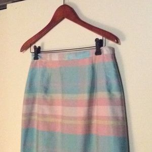 Lilly Pulitzer silk shantung long plaid skirt